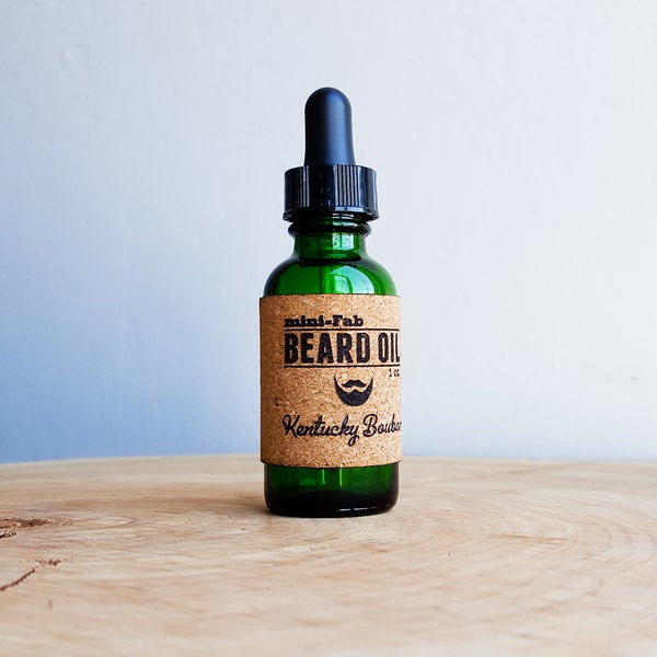 Image of Beard Oil - Kentucky Bourbon Scent - 1 oz. Glass Apothecary Bottle with Dropper and Cork Label