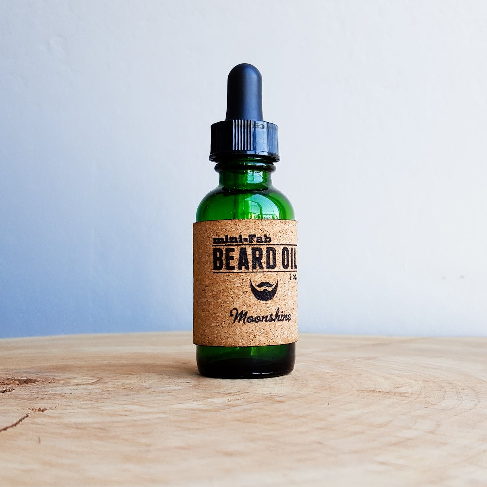 Image of Beard Oil - Moonshine Scent - 1 oz. Reusable Glass Apothecary Bottle with Dropper and Cork Label