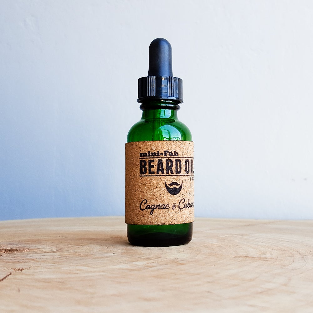 Image of Beard Oil - Cognac & Cuban Scent - 1 oz. Glass Apothecary Bottle with Dropper and Cork Label