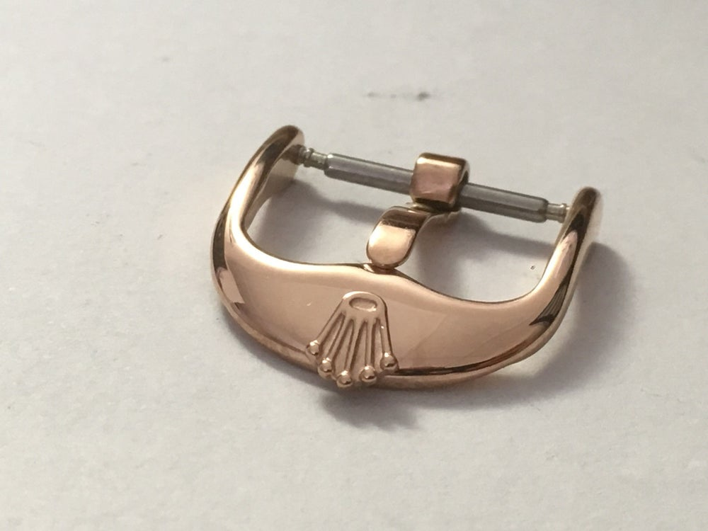 Image of ROLEX WATCH STRAP BUCKLE,PINK/ROSE GOLD PLATED,16MM AND 18MM,NEW.VINTAGE SHAPE