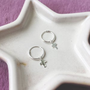 Image of Cross sleeper hoop earrings (sterling silver)