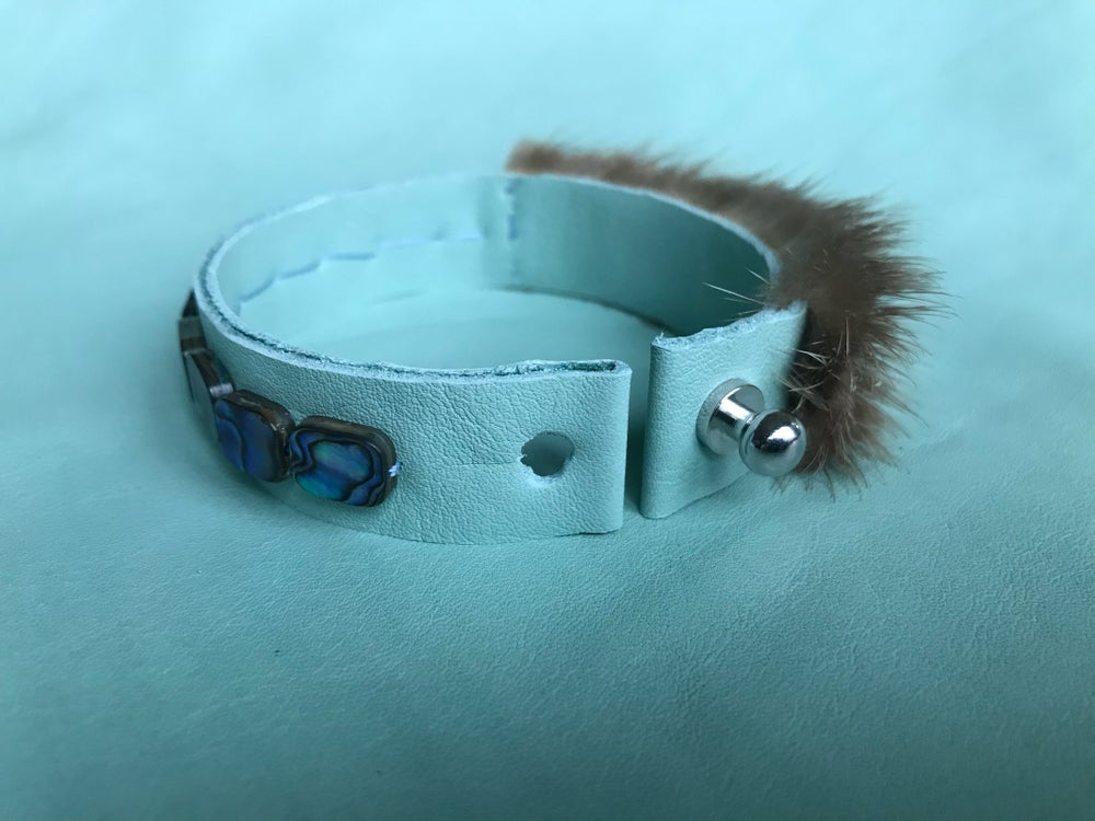 Image of Asymmetrical River Otter and Abalone Bracelet