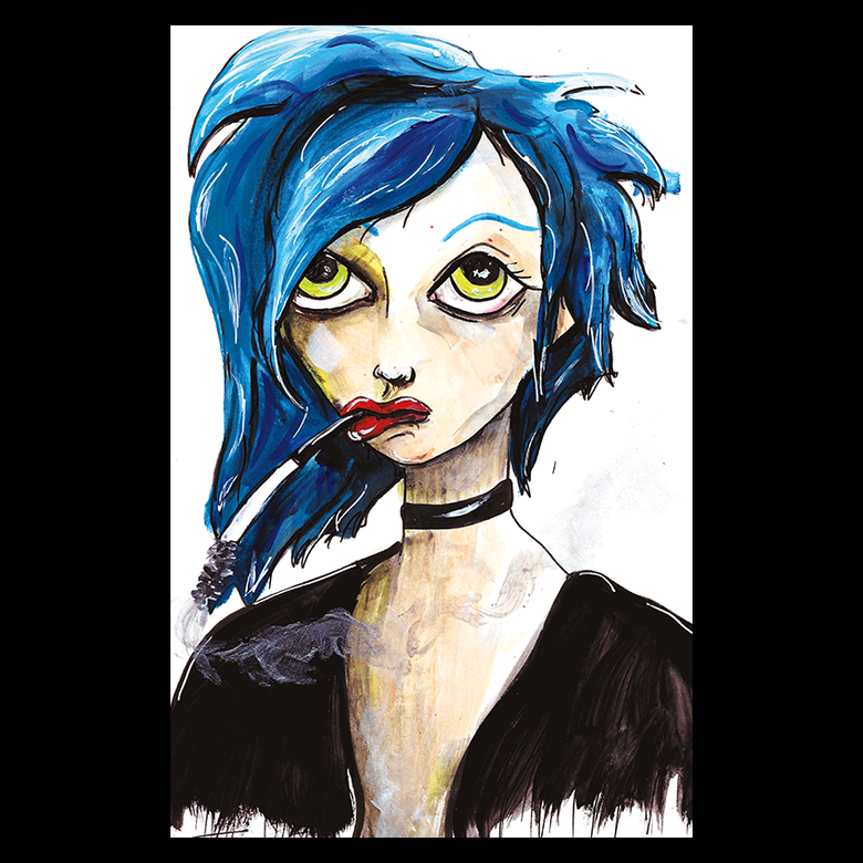 Image of Blue Girl - Oversized Postcard Print