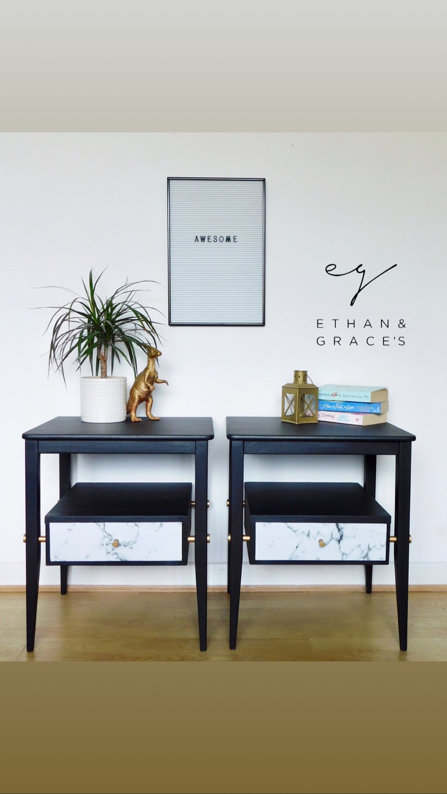 Image of A pair of black, gold and marble bedside tables
