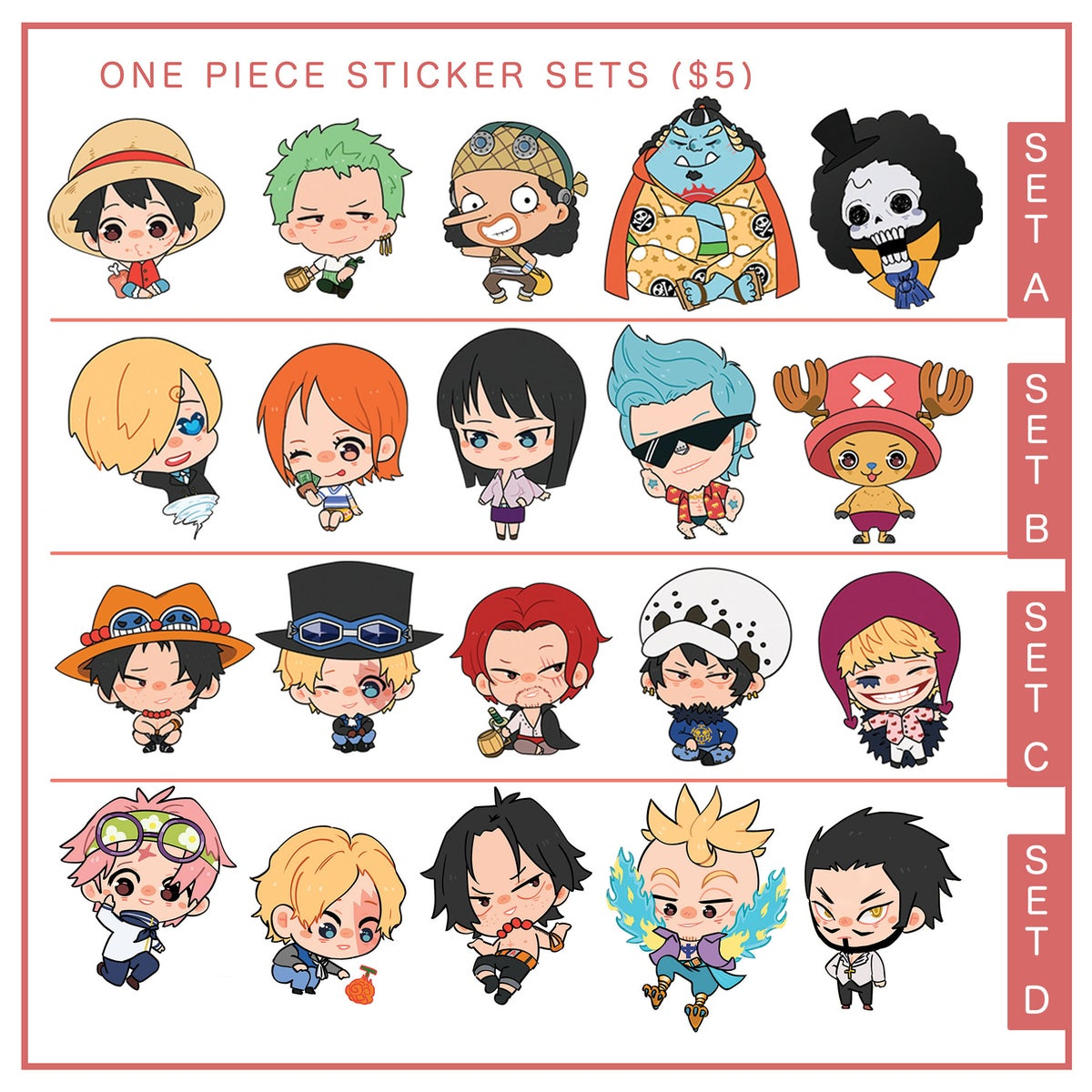 Image of one piece sticker sets