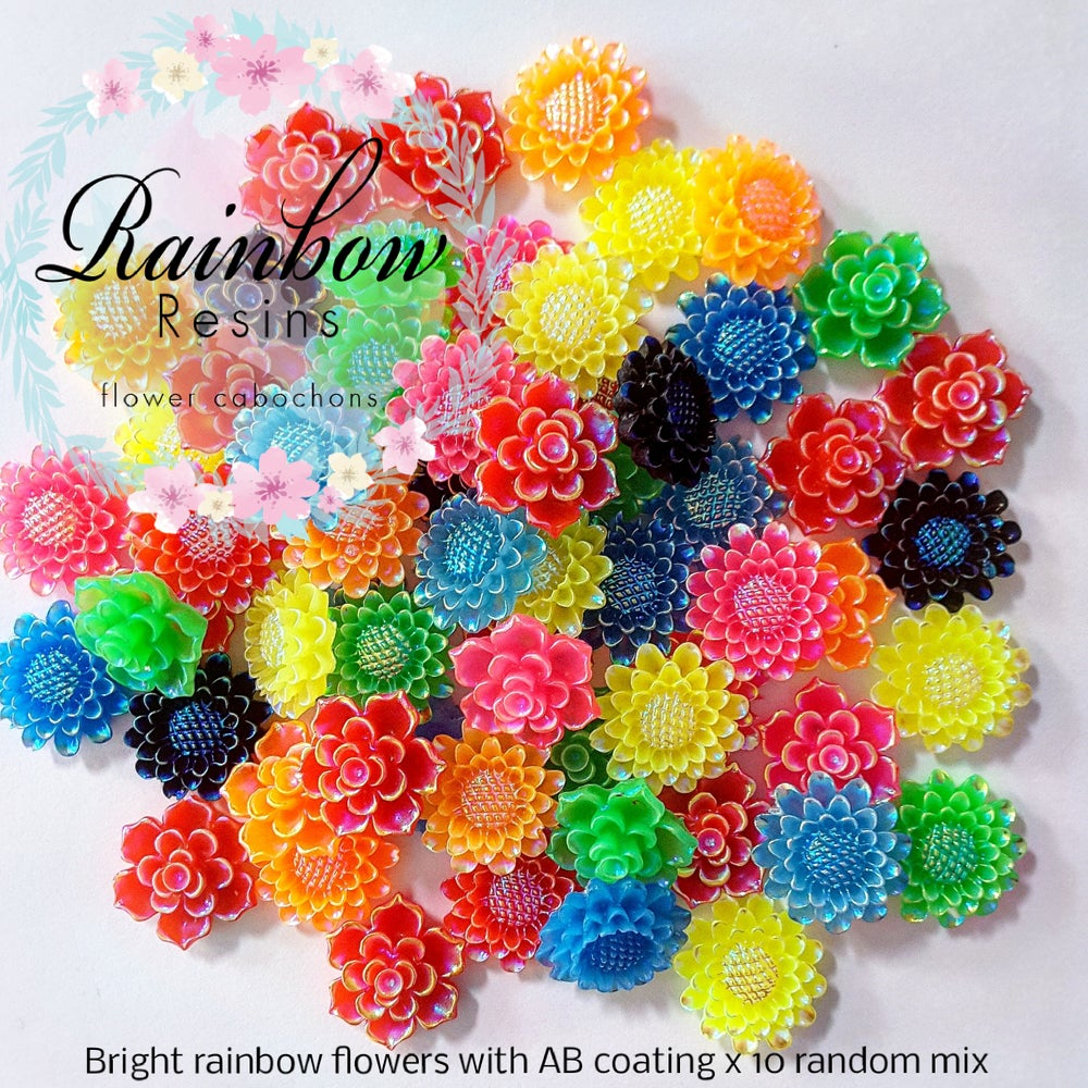 Image of Bright rainbow flowers with AB coating x 10