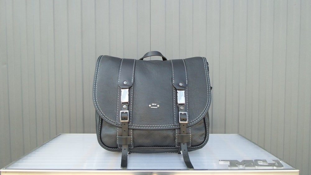 """Image of MCJ """"BUSINESS"""" BAG BLACK LEATHER WITH GREY SEAMS"""