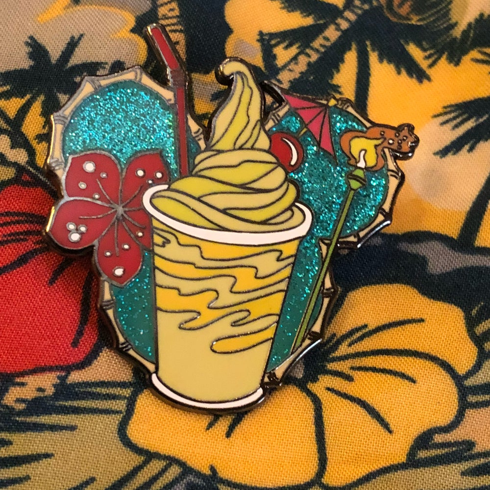 Image of Tiki Room Dole Whip float enamel pin