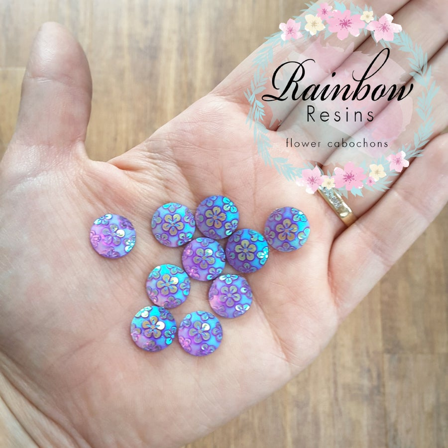 Image of Floral purple circle embellishments AB coating x 12