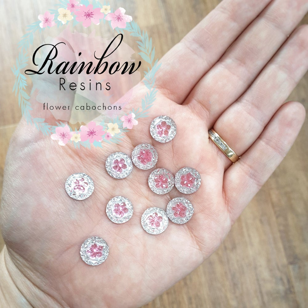 Image of Baby pink flower diamanté crystals x 12