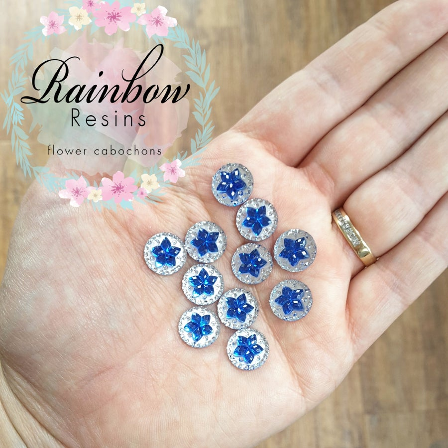 Image of Royal blue flower diamanté crystals x 12