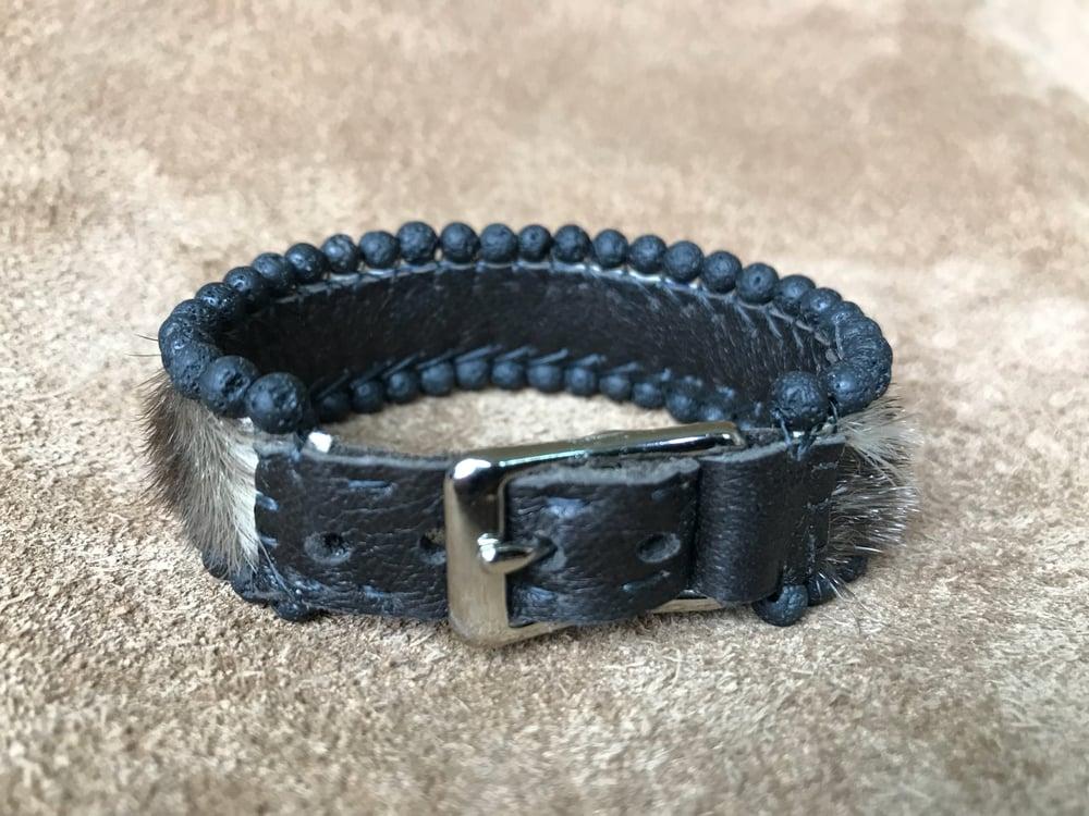 Image of Sealskin and Lava Rock Adjustable Bracelet