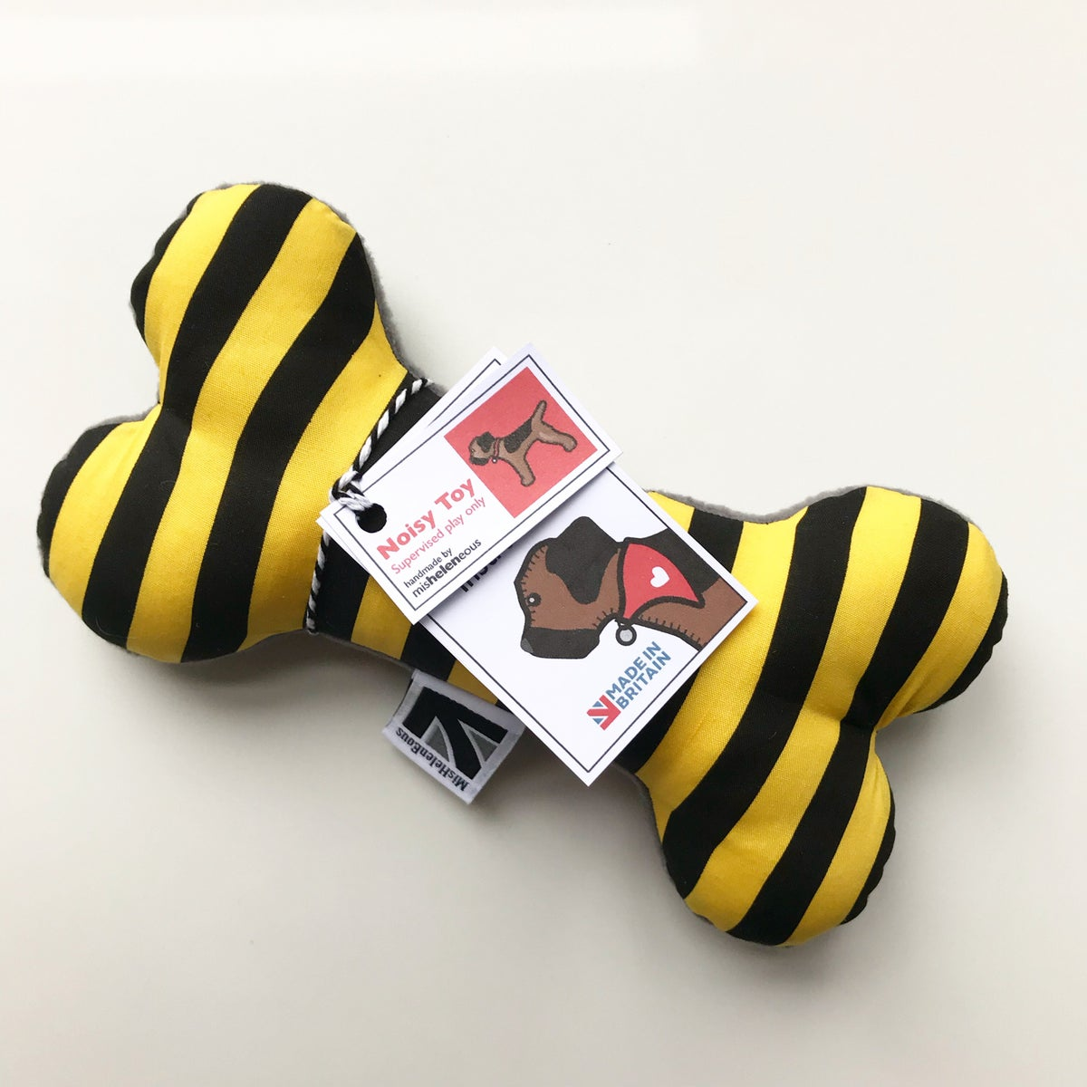Image of BEE STRIPE SQUEAKY DOG TOY BONES - SIZE MEDIUM