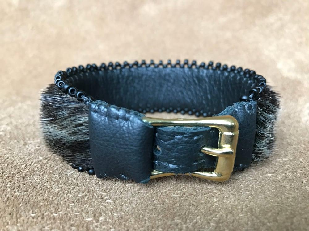Image of Beaded Sealskin Adjustable Bracelet