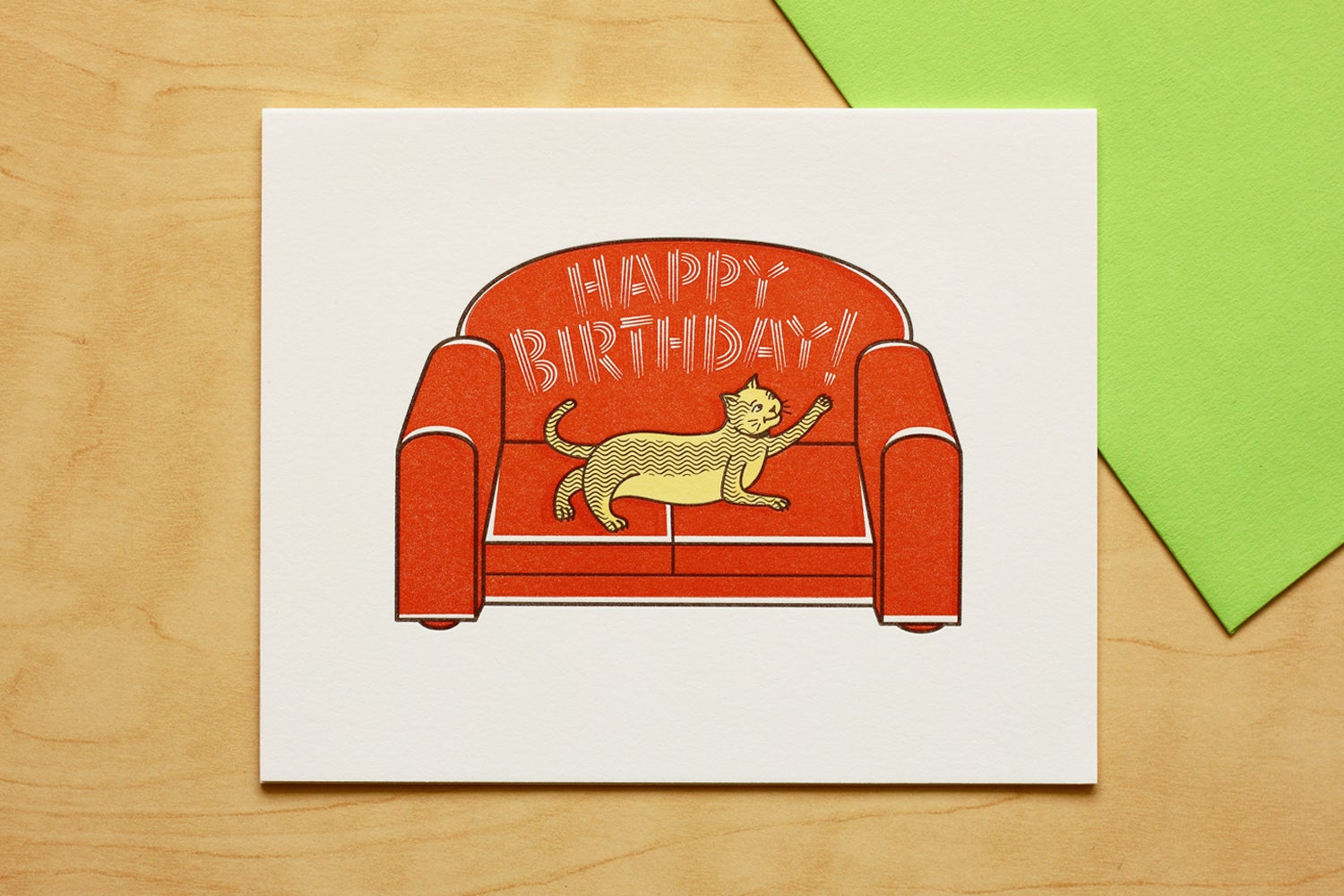 Image of Cat Scratching Sofa Happy Birthday Card