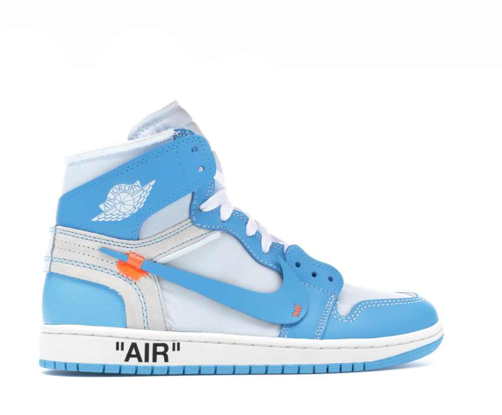 Image of NIKE X OFF WHITE AIR JORDAN 1 UNIVERSITY BLUE AQ0818-148