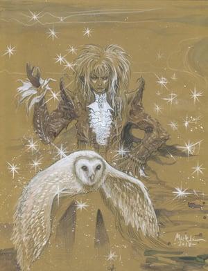 Image of Jarreth painting on gold leaf metallic paper OG
