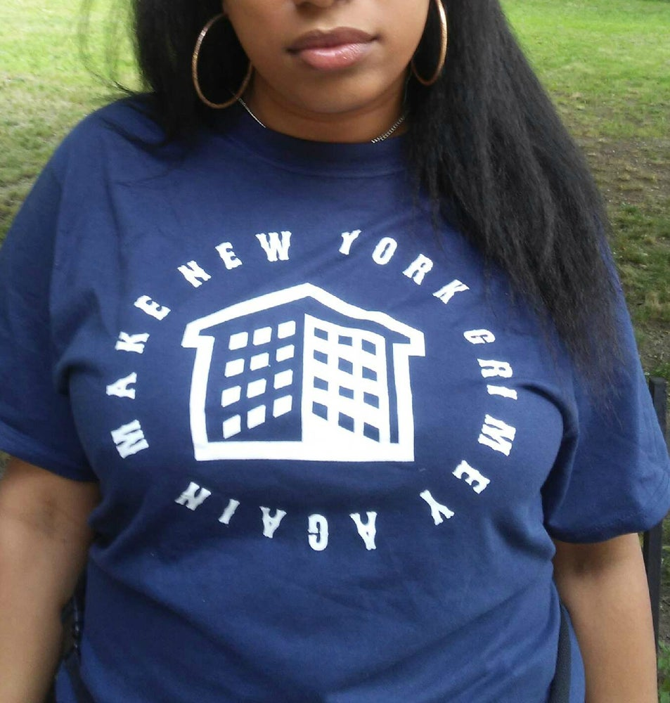 Image of MAKE NEW YORK GRIMEY AGAIN T-SHIRT (NAVY BLUE AND WHITE)