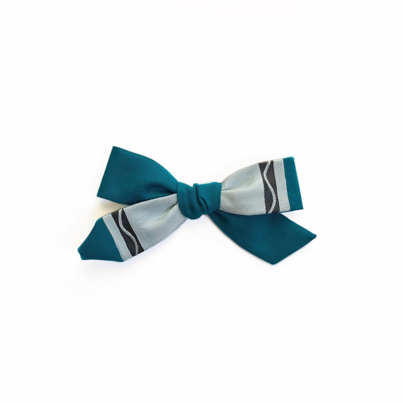 aquamarine crayon bow justella handmade
