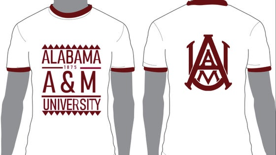 Image of White/Maroon Ringer AAMU - Popular Demand Style Shirt