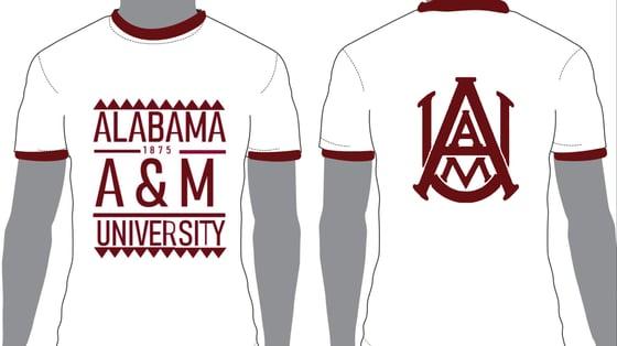 Image of White/Maroon Ringer AAMU - Popular Demand Style Shirt