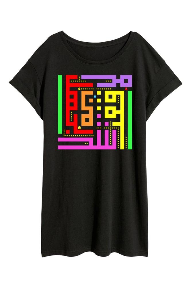 Image of Unisex Long T-shirt - Pacman calligraffiti by RamZ