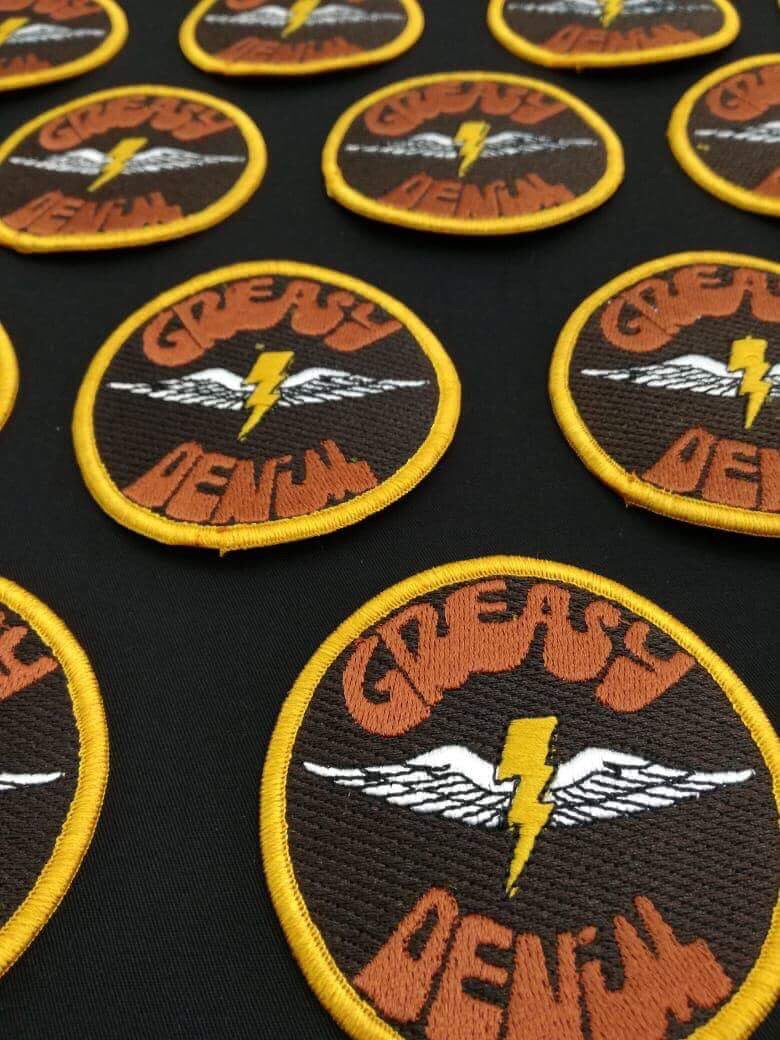 "Image of GREASY DENIM 3"" Custom Embroidered Circular PATCH"
