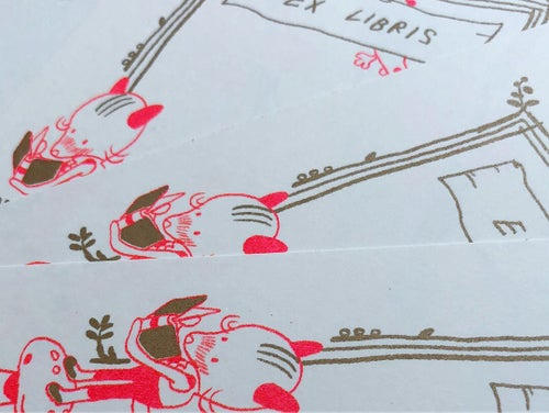 Image of Foxy Bookplates in Metallic Gold