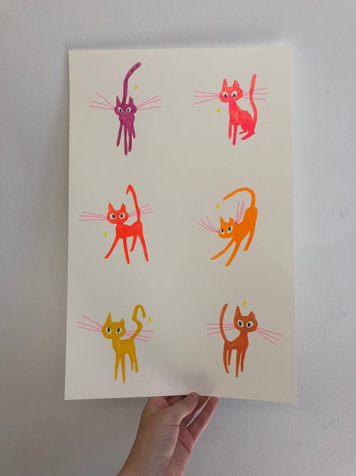 Image of Pink Cat Pack -Set of 6 Cat Prints- or 11x17 poster