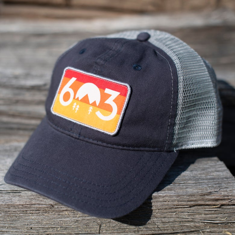 Image of 603 sunset trucker hat - navy/grey