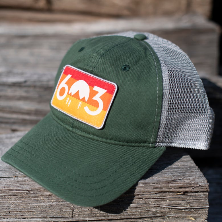 Image of 603 sunset trucker hat - green/grey