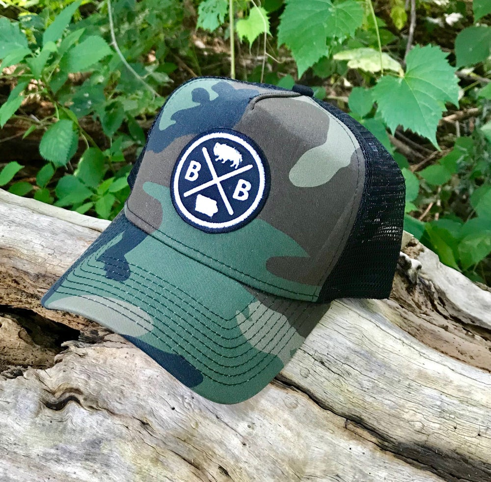 Image of Bison Circle Patch Camo Snapback Trucker Cap