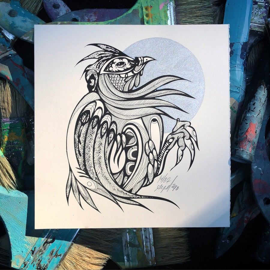 Image of Hand ± Embellished Rooster Print