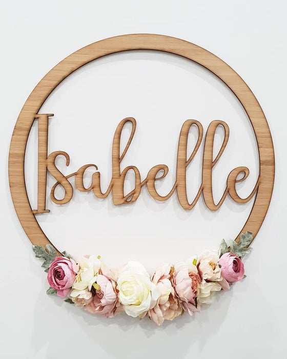 Image of Bamboo & floral name wreath