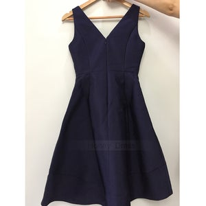 Image of Navy Blue V-Neck A-Line Bridesmaid Dresses, Tea Length High Low Prom Dress With Pockets