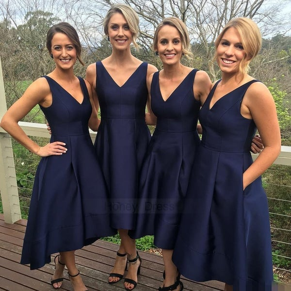 Image of Navy Blue V-Neck A-Line Bridesmaid Dresses, Tea Length High Low Prom Dress With Pocklets