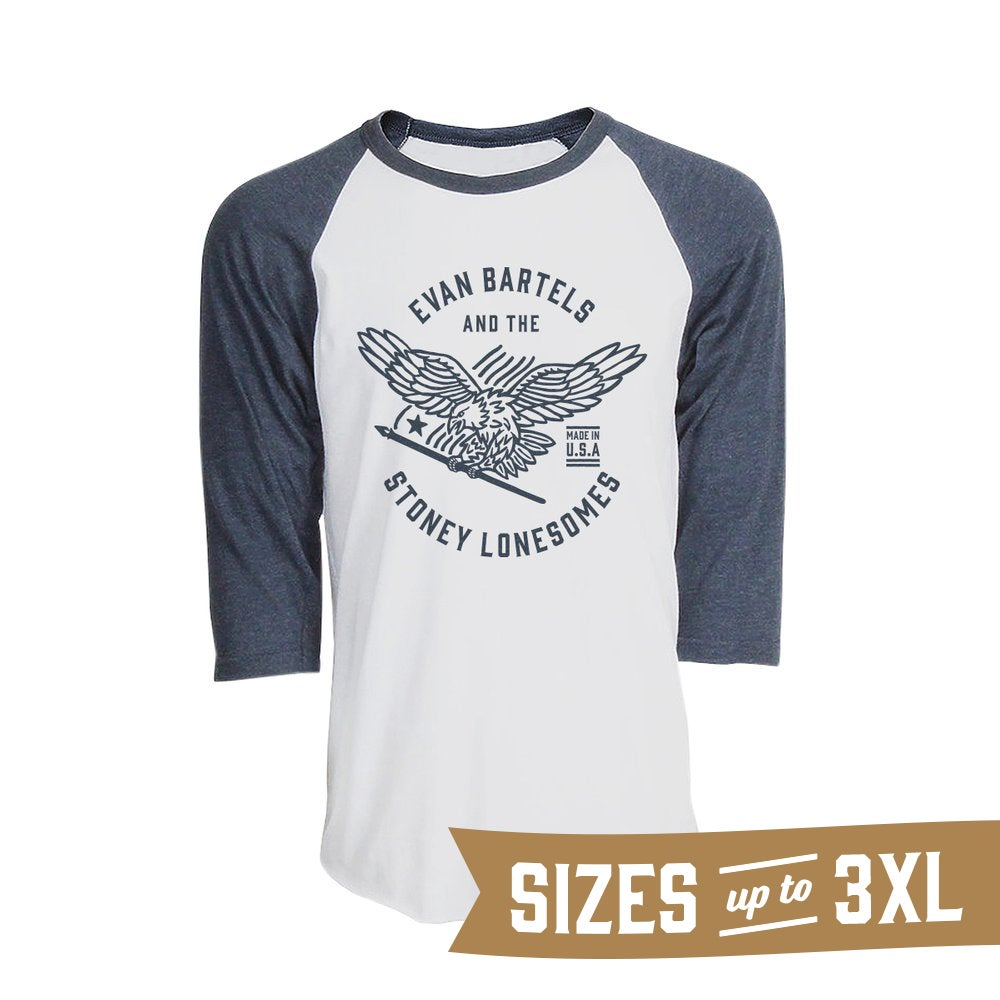 Image of EBSL Eagle Baseball Tee (Unisex White/Denim Heather)