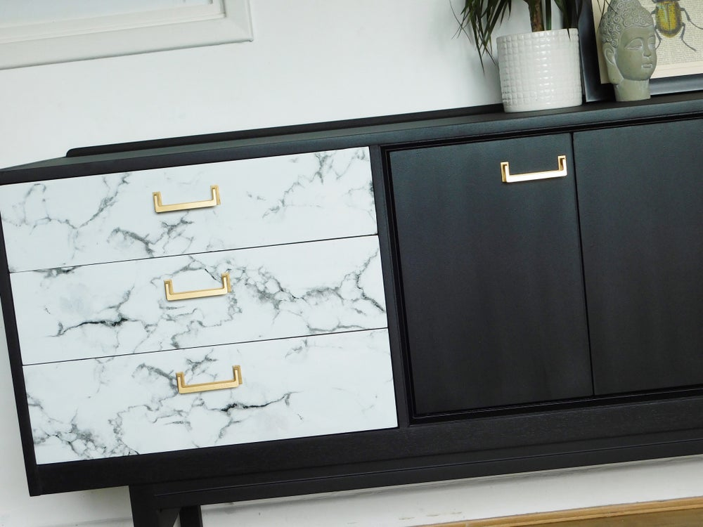 Image of Black, gold & marble G plan sideboard