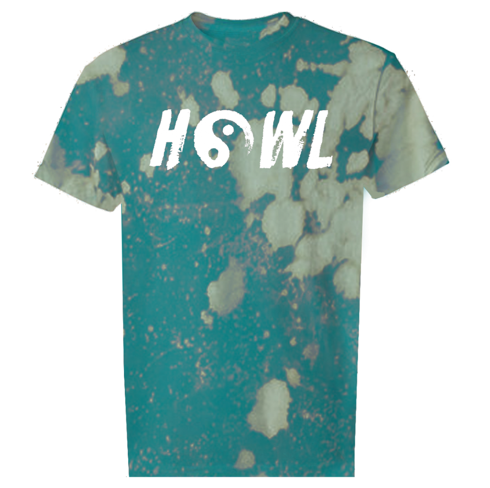 Image of YINYANG HOWL T-SHIRT BLEACHED TEAL