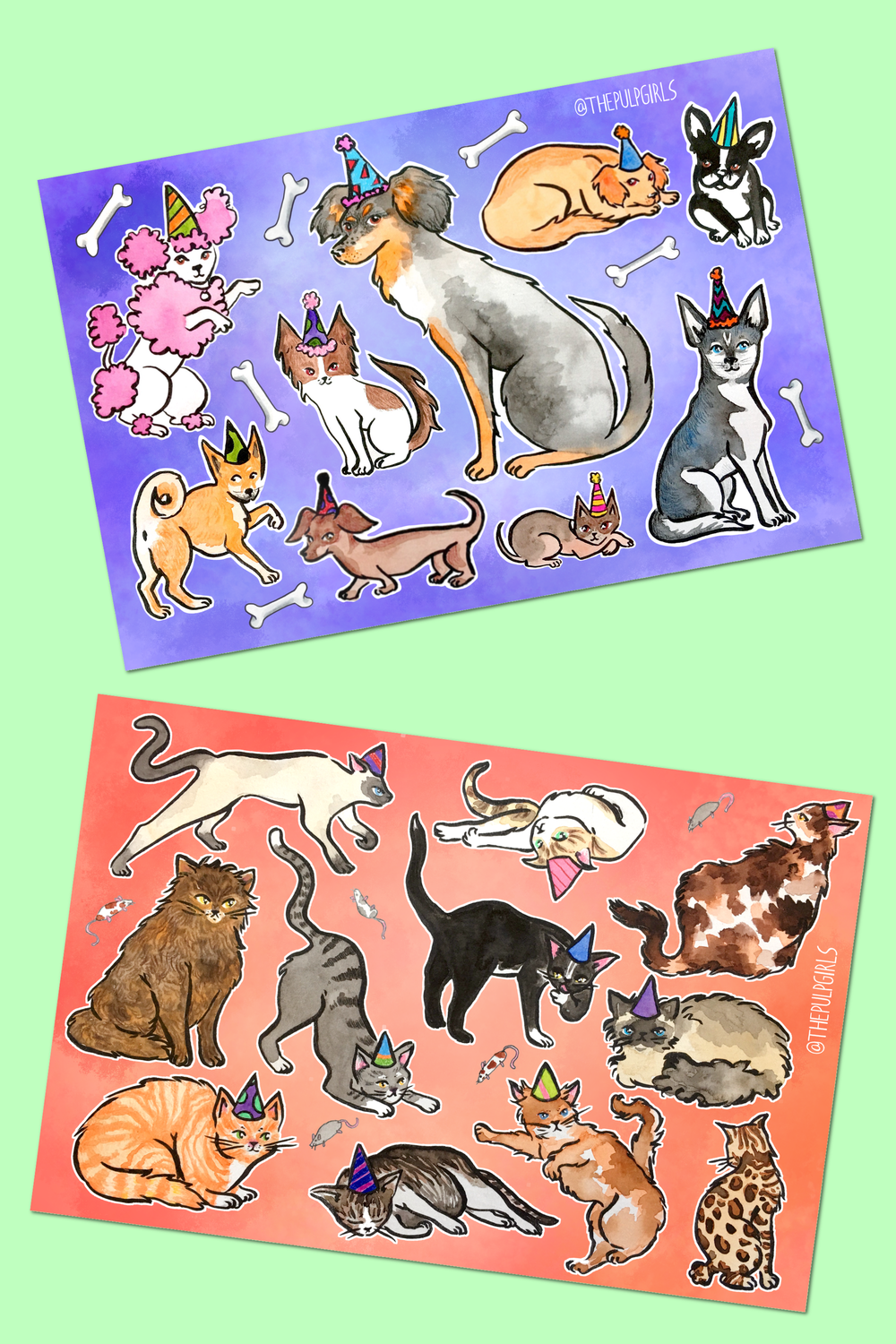 Image of PARTY ANIMALS STICKER SHEETS