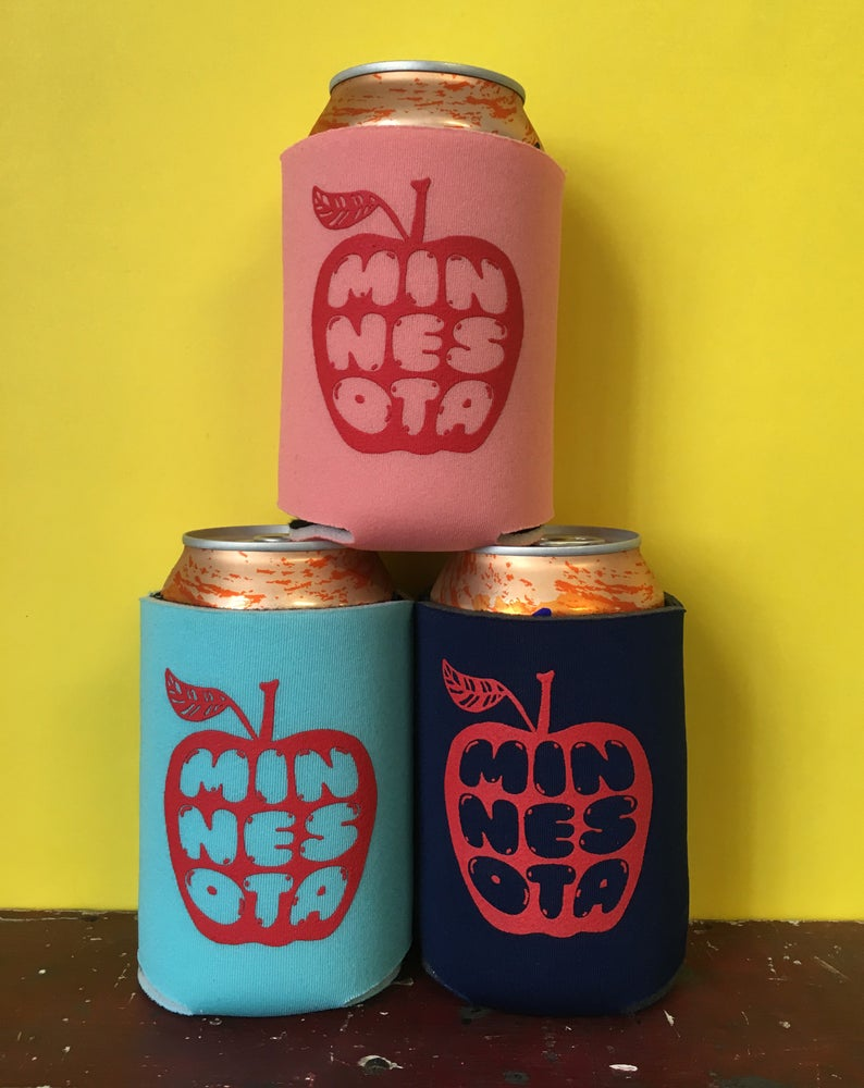 Image of Minnesota Apple- screen-printed can cooler-three color choices