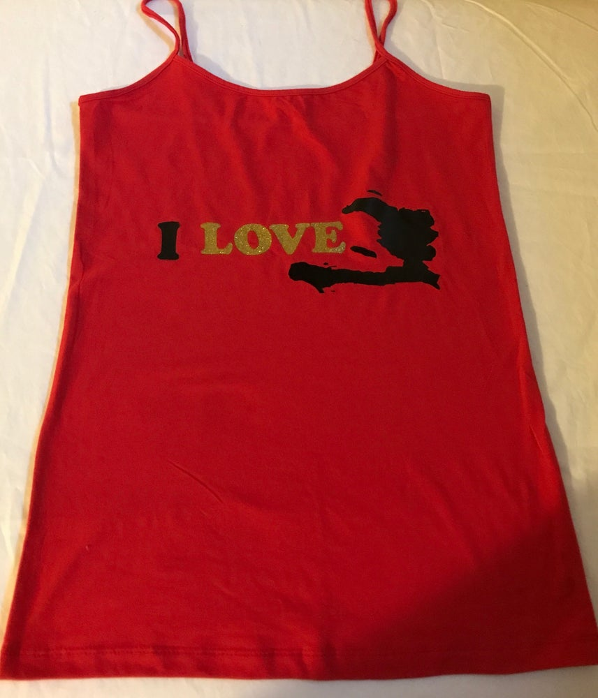 Image of Black and red/gold  tank top