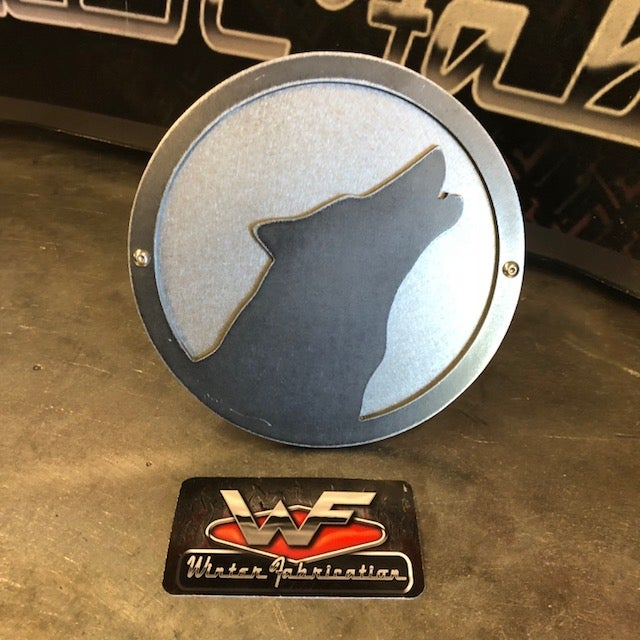 Image of Wolf or Husky Howling Hitch Cover - Two Layer - Style 1