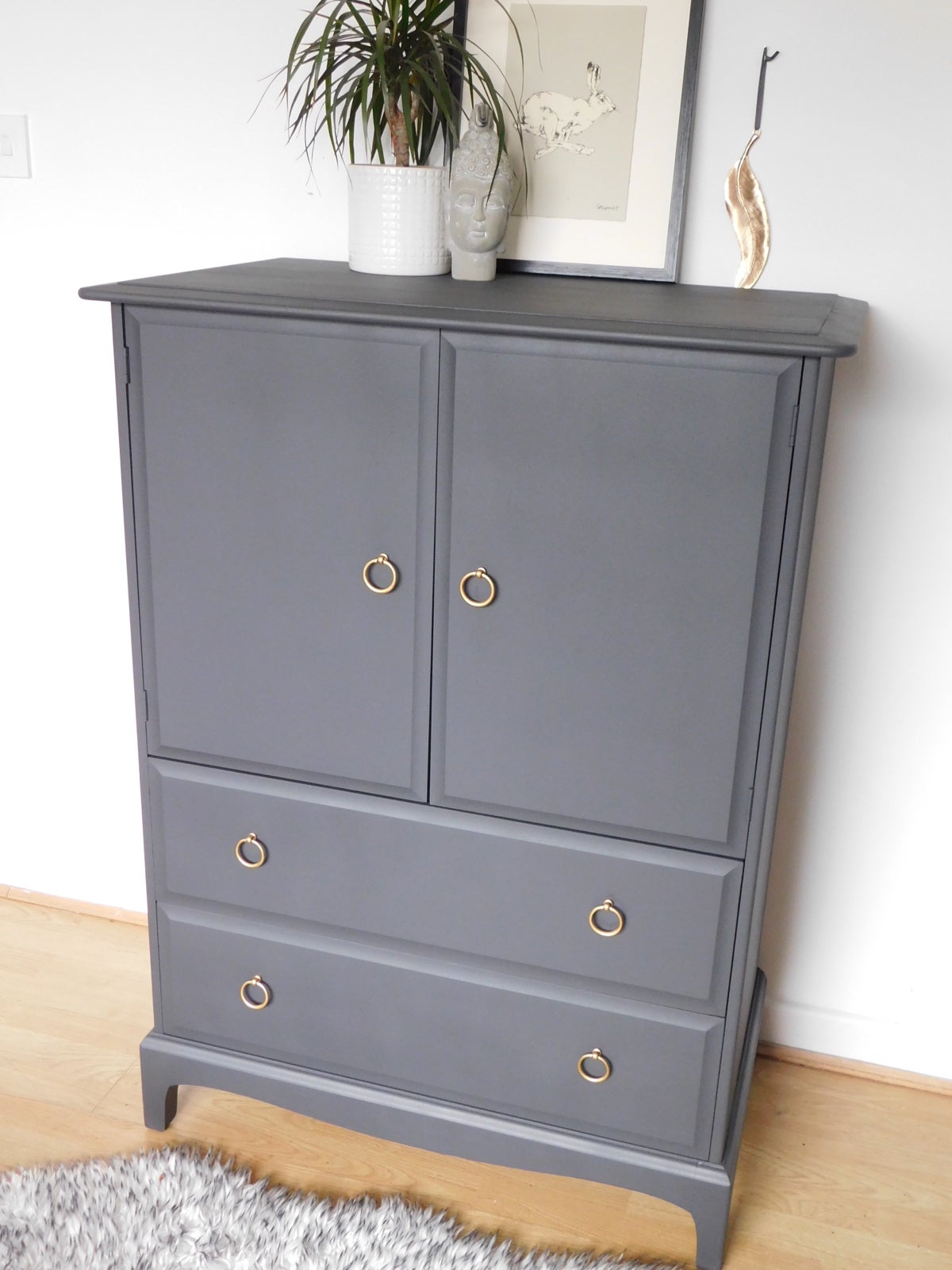 Image of Stag mahogany linen cupboard in dark grey