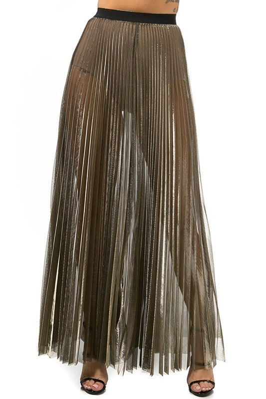 Image of Metallic Maxi Skirt