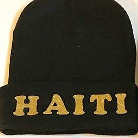 Image of black and gold beanie