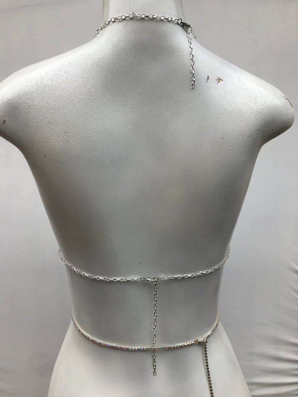 Image of Crystal halter crop top, festival body jewelry