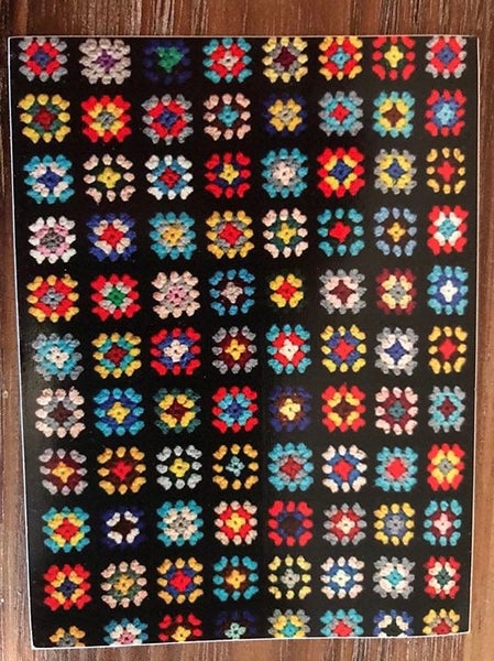 Image of Working Class Pride Flag / Granny Square Quilt Sticker 4x 2 inch