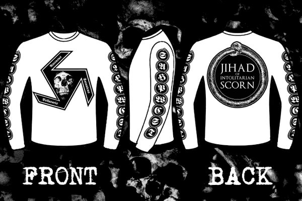"Image of INTOLITARIAN "" Hate Legion Suicide Bomber"" double sided long & short sleeve t-shirt."