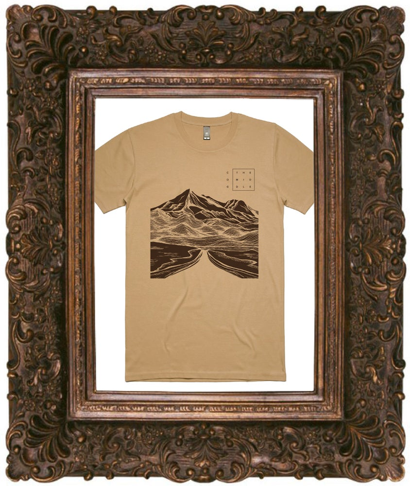 Image of The Middle Tee - Tan Tee w/ Chocolate Print.